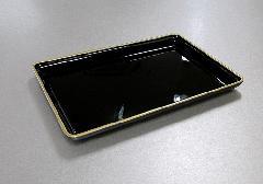 ■名刺盆 大 黒フチ金 PC製
