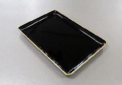 ◆切手盆 8.0寸 黒フチ金 PC製