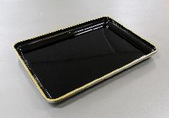 ◆切手盆 9.0寸 黒フチ金 PC製