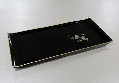 ◆焼香盆 小 黒フチ金 蒔絵鉄仙 PC製