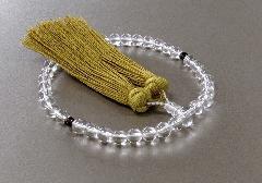 ◆女性用片手念珠 水晶2天茶水晶仕立 正絹頭房