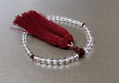 ◆女性用片手念珠 水晶7�o玉瑪瑙仕立 正絹細房
