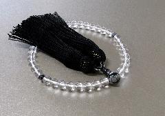◆女性用片手念珠 水晶7�o玉天眼珠仕立 正絹頭房