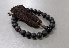 ◆男性用片手念珠 素挽黒檀茶水晶仕立 正絹頭房