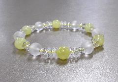 □天然石ブレス イエロージェイド・霧水晶・水晶 ※在庫処分特価品