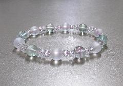 ○天然石ブレス 蛍石・霧水晶・水晶