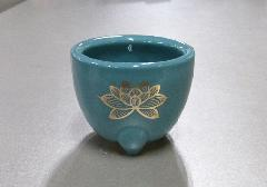 ◆青磁 玉香炉 2.5寸 上金ハス 浄土真宗本願寺派(西)用香炉