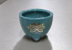 ◆青磁 玉香炉 3.0寸 上金ハス 浄土真宗本願寺派(西)用香炉