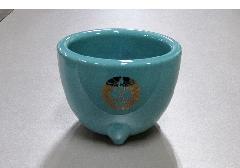 ◆青磁 玉香炉 4.0寸 真宗下り藤 浄土真宗本願寺派(西)用香炉