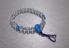 ◆腕輪念珠 水晶トルコ石仕立