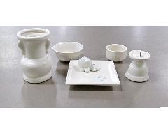 ■具足セット ペット用陶器仏具6点セット パールホワイト