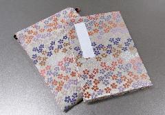 ◆御朱印帳&ケースのセット 小 ��1 アコーディオン式 花花 白/薄紫・ピンク