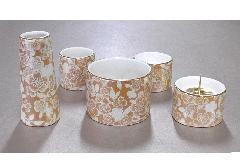 ◆ゆい花 佛具5点セット (陶器製) 丸型香炉 シャンパンゴールド