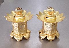 ◇真鍮 神前灯籠 猫足 2.5寸 消金 浄土真宗本願寺派(西)用