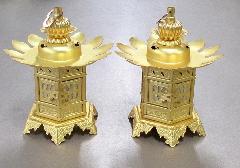◆真鍮 神前灯籠 丁足 2.0寸 消金 真宗大谷派(東)用