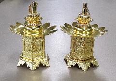 ◇真鍮 神前灯籠 丁足 1.8寸 本金 真宗大谷派(東)用