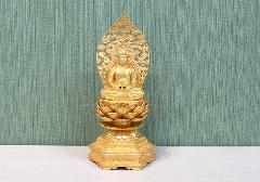 ●合金製 阿弥陀如来 座像 金メッキ 24cm