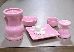 ■具足セット ペット用陶器仏具6点セット ピンク