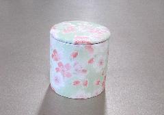 ◆骨壺・骨壷 シリコン付骨カメ 2.0寸 桜ころも グリーン