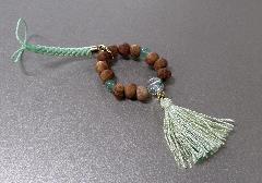 □欅身代わり数珠 根付&ストラップ アベンチュリン