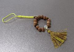 ○欅身代わり数珠 根付&ストラップ 虎目石