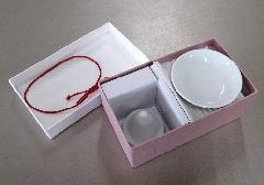 ●塩盛ギフトセット 小 盛り塩の型と白皿2枚のセット