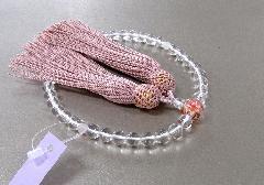◆女性用片手念珠 水晶二天紅水晶仕立親玉PC花柄 正絹頭房 紙箱入