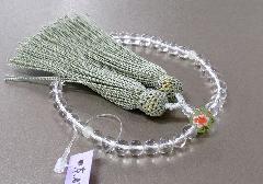 ◆女性用片手念珠 水晶二天貴石仕立親玉PC花柄 正絹頭房 紙箱入