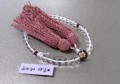 ◆女性用片手念珠 水晶二天瑪瑙仕立親玉PC花柄 正絹頭房 紙箱入