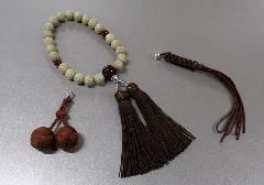 ◆男性用片手念珠 星月菩提樹22玉瑪瑙仕立 マグネット式 正絹頭房・紐房8本足・かがり梵天:房3点セット