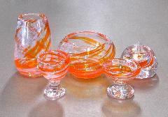 ◆オリジナルガラス仏具 5具足 シャルマン オレンジ