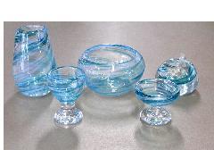 ■オリジナルガラス仏具 5具足 シャルマン ブルー