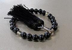 ◆男性用片手念珠 黒檀23玉茶水晶仕立 人絹頭房 限定品