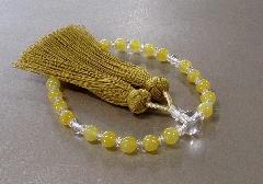 ◆女性用片手念珠 イエローカルセドニー・水晶仕立 桐箱入 正絹房 創作念珠
