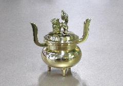 ◆蓋付香炉・飾り香炉 獅子付玉香炉 磨 2.3寸