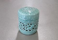 ◇骨壺・骨壷 透かし鳳凰 緑青磁 4.0寸
