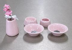 ●おもいでのあかし仏具8点セット 陶器 ピンク