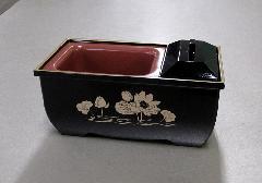 ●焼香用香炉台 やすらぎ香炉5.0寸 黒フチ金蓮 5.0寸