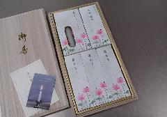 ■煙の少ないお線香 蓮水香 蝋燭セット 桐箱入 【カメヤマ】