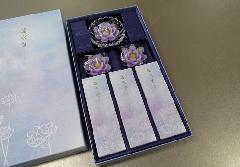 ◎煙の少ないお線香 蓮水香 蓮型ローソク 紫 【カメヤマ】