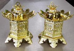 ◆真鍮 神前灯籠 丁足 2.5寸 本金 真宗大谷派(東)用 M