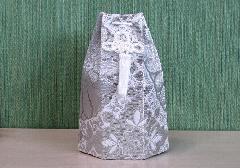 ○六角骨覆 骨袋六角 2.0寸用 並金襴 分骨袋 銀