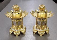 ◆極上組胴 七宝透 灯籠 猫足 2.0寸 消金 浄土真宗本願寺派(西)用