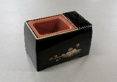 ■焼香用香炉台 5寸香炉 黒(フチ金) 蓮