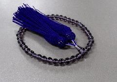 ○女性用片手念珠 GXガラス(紫)7�o玉共仕立 人絹頭房
