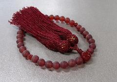 ○女性用片手念珠 艶消し瑪瑙8�o玉瑪瑙仕立 正絹頭房
