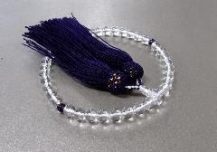 ○女性用片手念珠 水晶7�o玉2天紫水晶仕立 正絹頭房