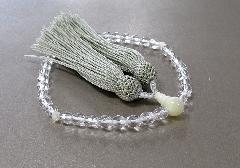 □女性用片手念珠 ガラスカット蝶貝仕立 人絹頭房 グリーン
