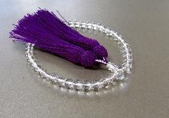 ○女性用片手念珠 水晶7�o玉共仕立 正絹細房 (紫)