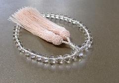 ○女性用片手念珠 水晶7�o玉共仕立 正絹細房 (ピンク)